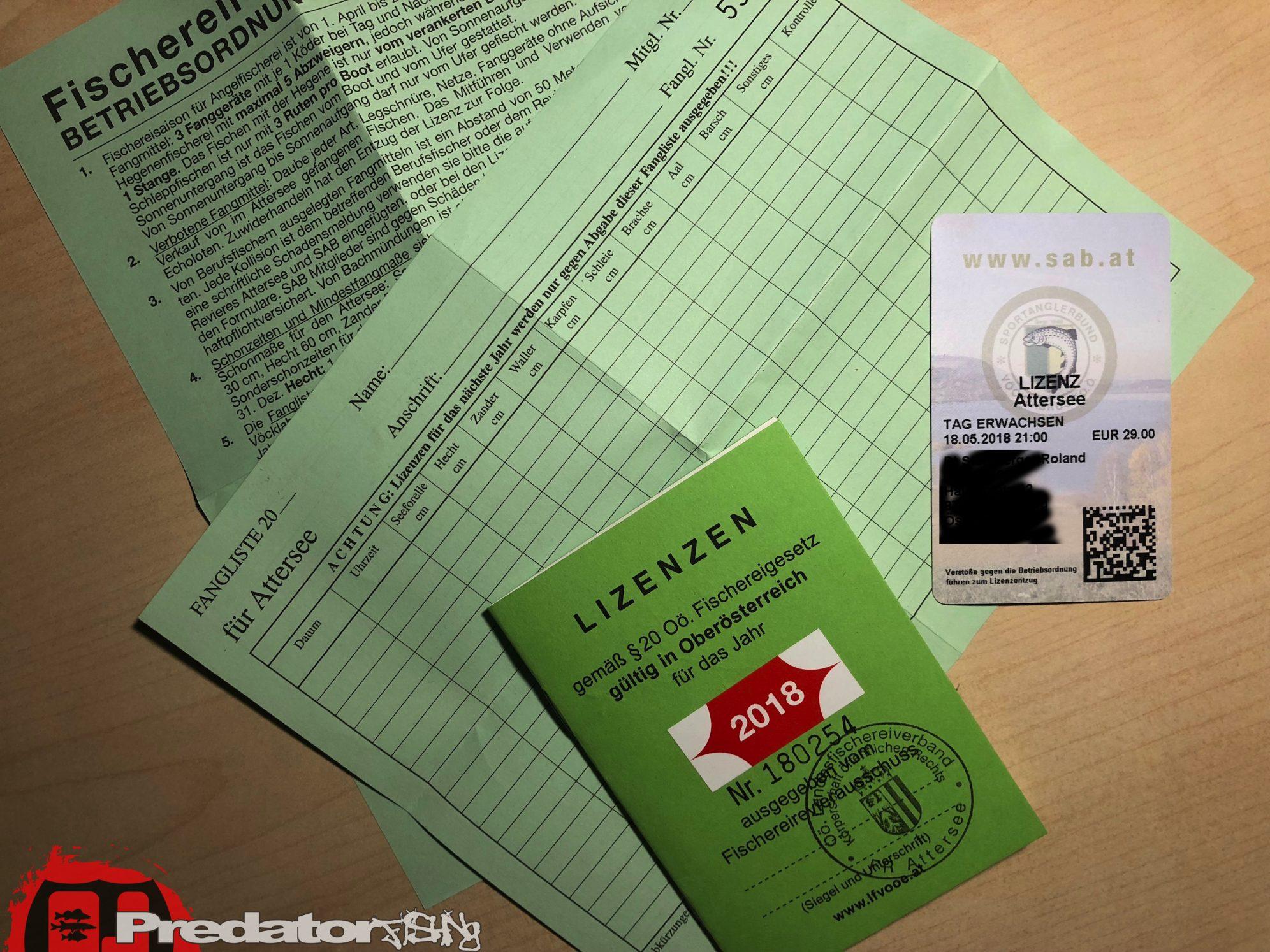 Raubfisch-Angeln am Attersee Lizenzen